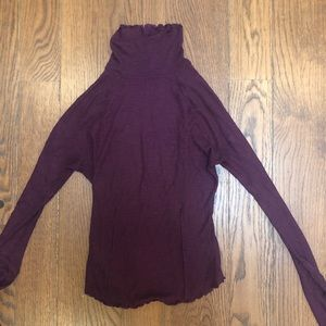 Free People Burgundy Turtleneck Shirt